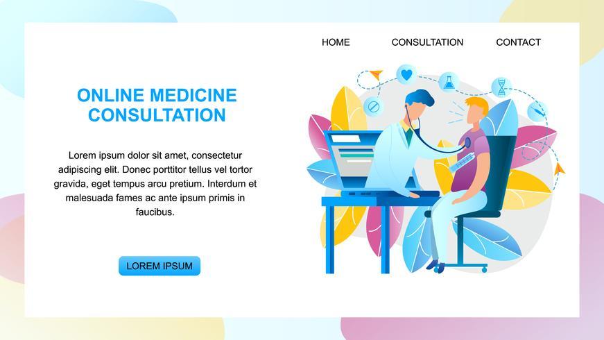 Online geneeskunde consult arts vector