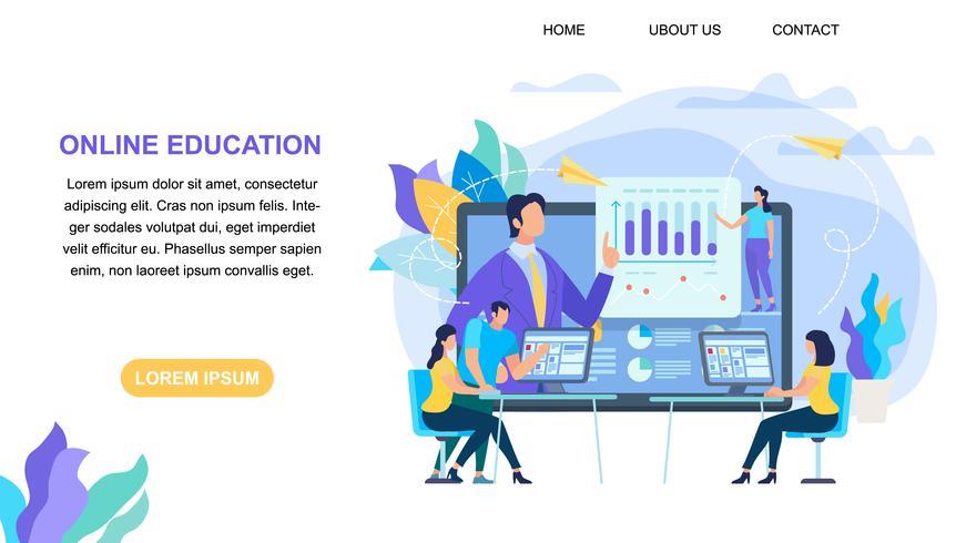 Online onderwijs horizontale banner met kopie ruimte vector