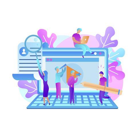 Jongeren trainen Kennis opdoen via internet vector