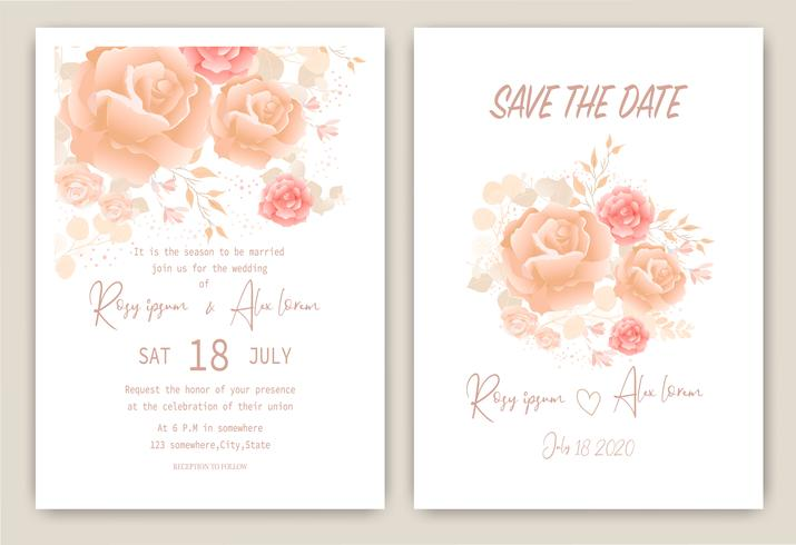 Rose cluster bruiloft uitnodigingskaart Floral hand getekende frame vector