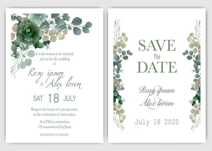 Groen bruiloft uitnodiging vector