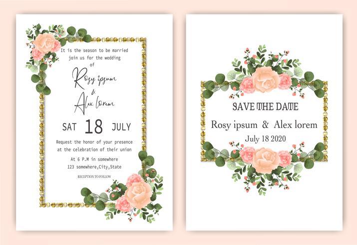 Elegante roos krans bruiloft uitnodigingskaart vector