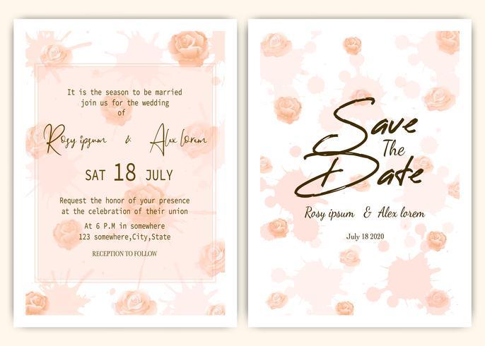 Rose verspreide bruiloft uitnodigingskaart vector