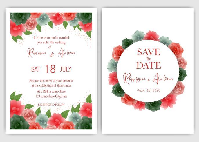 Rose bruiloft uitnodigen en bewaar de datum vector