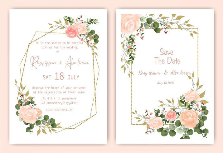 Sparen de datum bloemen bruiloft uitnodigingskaart vector