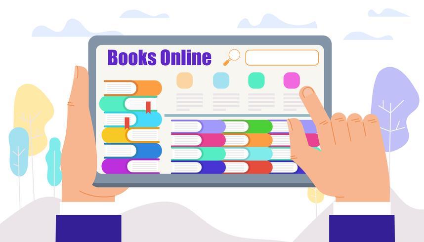 Mannelijke handen Touch Tablet met boeken op het scherm vector