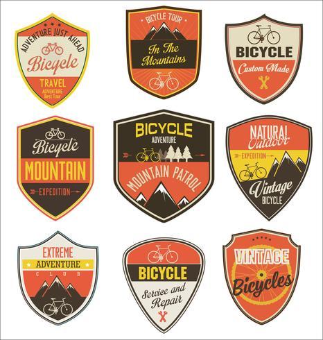 Set fiets retro vintage badges en etiketten vector