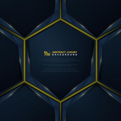 Blauw kleurverloop met gouden lijn glitters achtergrond vector