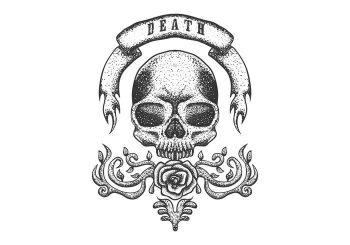schedel met vintage lint vector