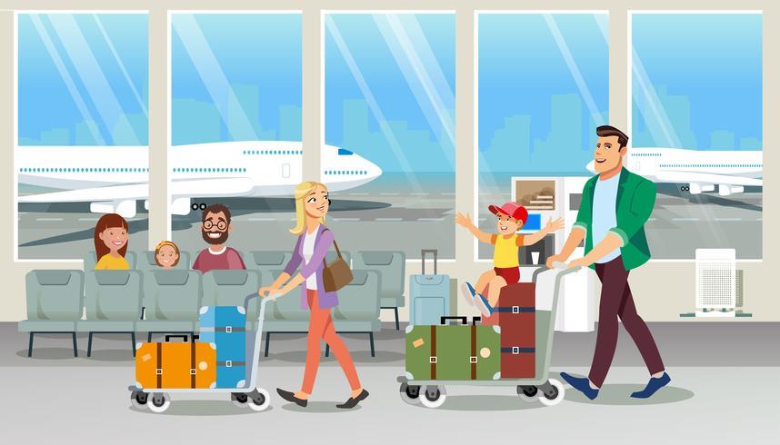 Familie dragende bagage in luchthaven vector