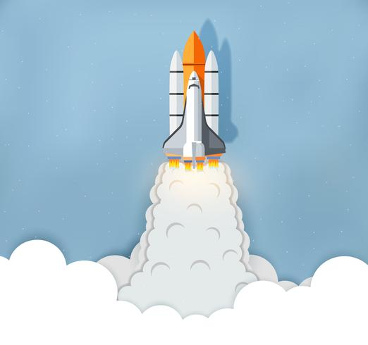 Space Shuttle wordt gelanceerd vector