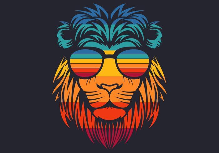 retro leeuwenkop die een bril draagt vector