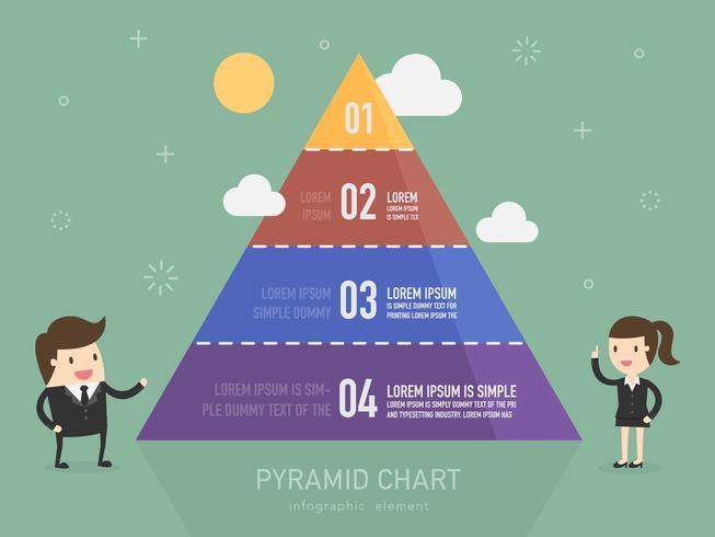 Twee mensen uit het bedrijfsleven met piramide grafiek vector