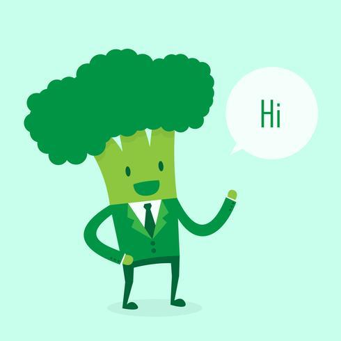 Broccoli bedrijfsmens die hallo zegt vector