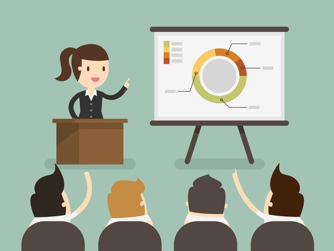 Bedrijfs vrouw die een presentatie geeft. vector