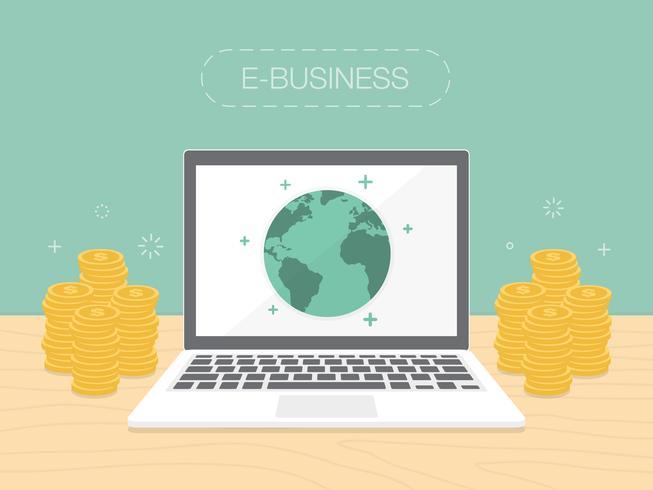 E-businessconcept met geld dat rond laptop wordt gestapeld vector
