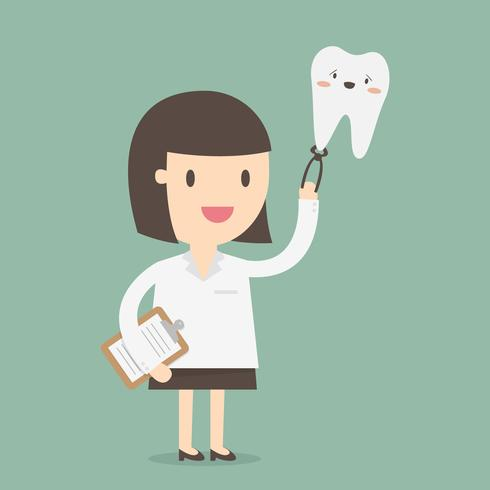 Vrouwelijke tandarts die grote het glimlachen tand houdt vector