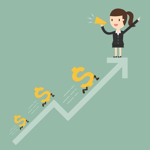 Bedrijfsvrouw met dollartekens lancerende pijl vector