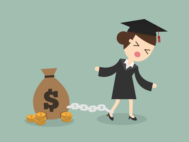 Afstuderen student geketend aan schuld vector