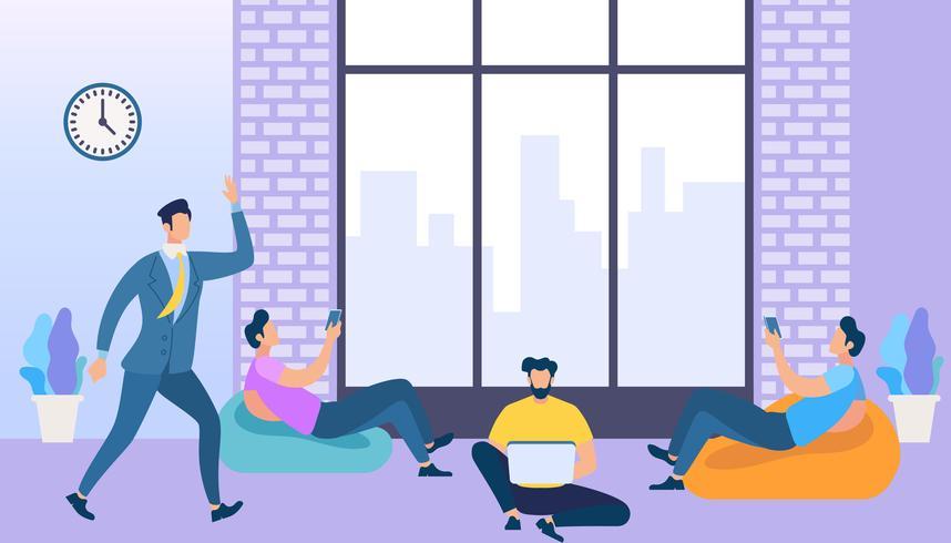 Coworking Space met creatieve mensen met behulp van gadgets vector