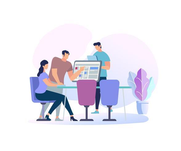 Jonge vrouwenzitting bij bureau met computer vector
