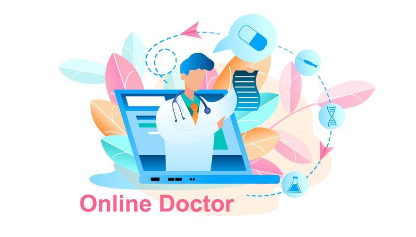 Online consult voor artsenbehandeling vector