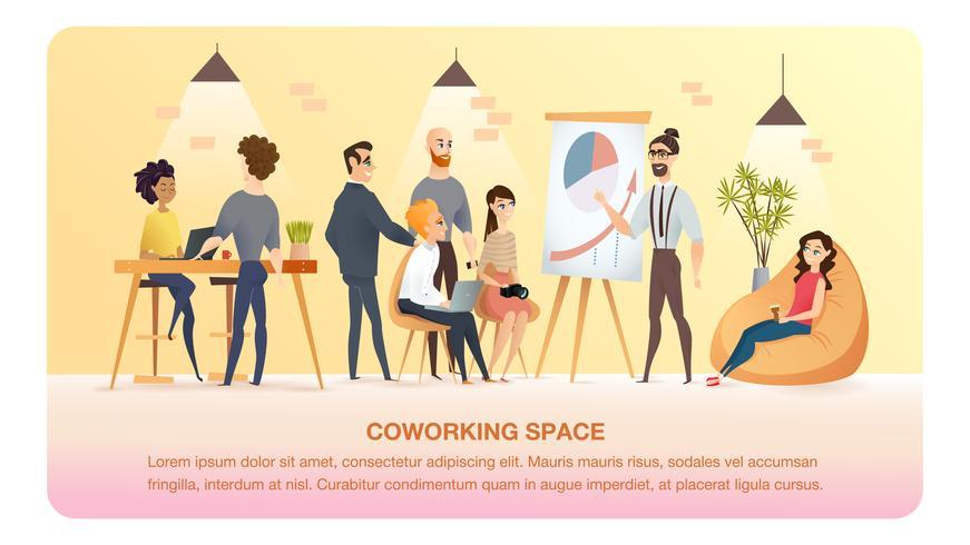 Karakterwerk en studie in Coworking Area Banner vector