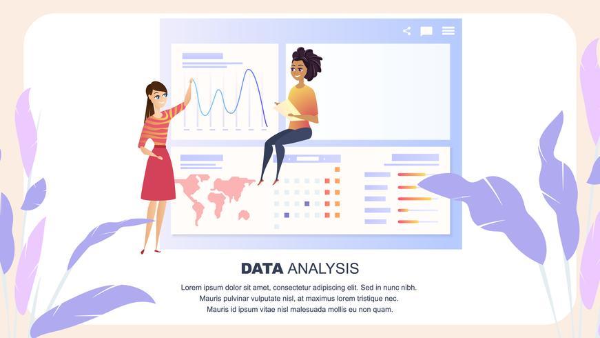 Globale gegevensanalyse grafiek zakenvrouw karakter vector