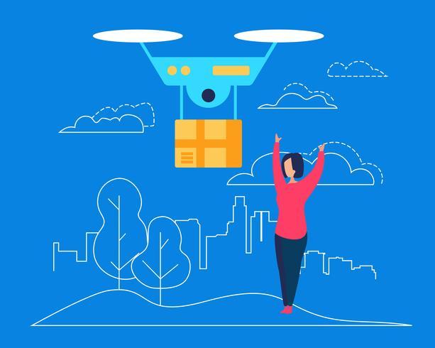 Drone levert een pakket af aan de consument van de jonge vrouw vector