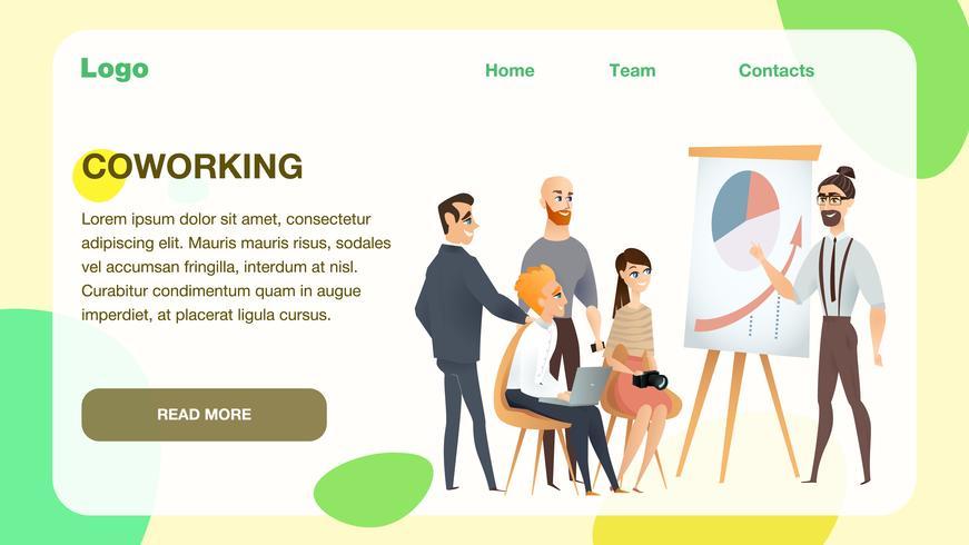 Freelance Team Meeting bij Modern Coworking Studio vector