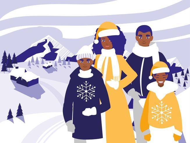 familie kerst in de winter vector
