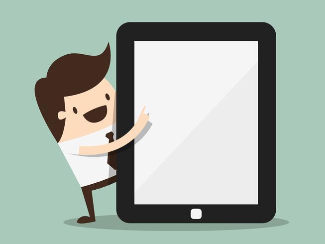 Zakenman die aan het scherm van een tablet richt vector