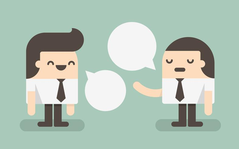 Twee zakenlieden praten met tekstballonnen vector