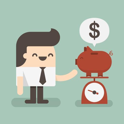 Zakenmanbesparingsgeld in een spaarvarken vector