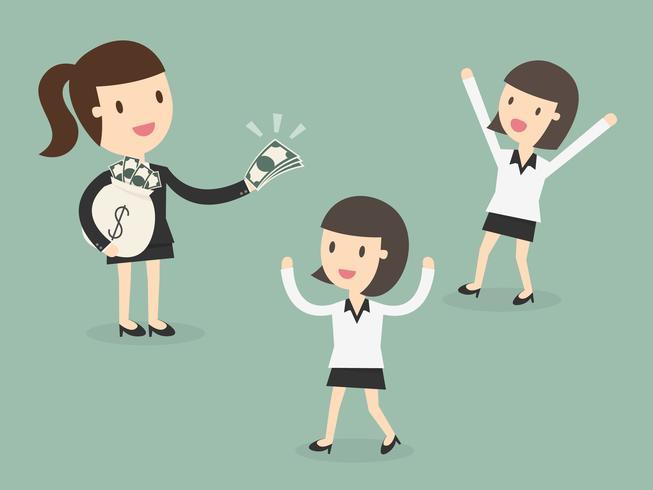 Werkgever betaalt geld aan werknemer vector