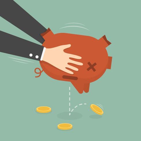 Zakenman die geld neemt uit spaarvarken. vector