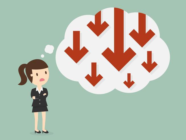Bedrijfs vrouw die over grafiek met negatieve trend denkt vector