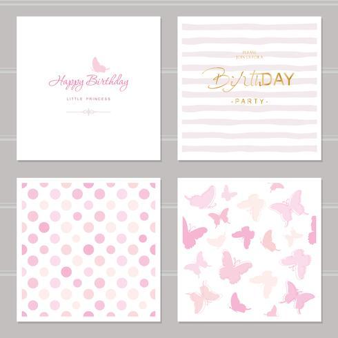 Verjaardagskaarten set inclusief naadloze patronen in pastel roze vector