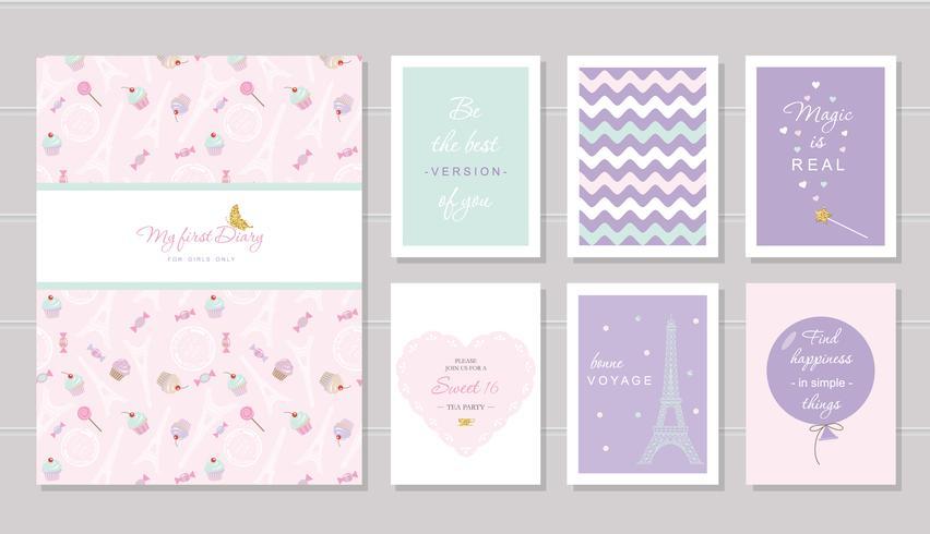 Notebook-omslag en kaartenontwerp voor tienermeisjes. Parijs thema, wijze citaten. Inclusief naadloos patroon met Eiffeltoren, cupcakes-snoepjes op pastelroze. vector