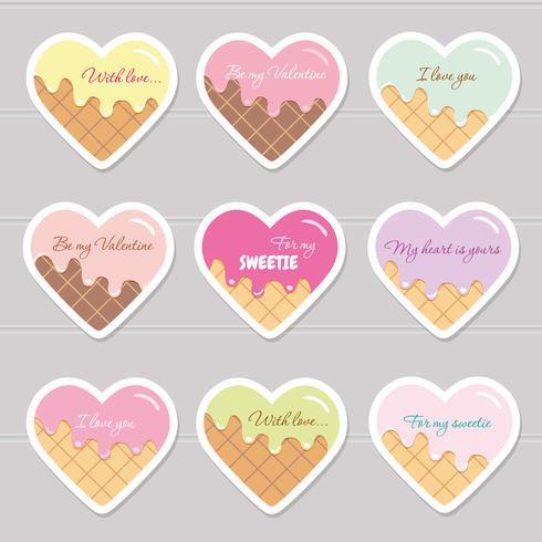 Valentijnsdag stickers. Cartoon harten met voorbeeldtekst. vector