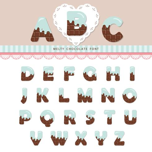 Blauwe room gesmolten op chocolade alfabet. vector