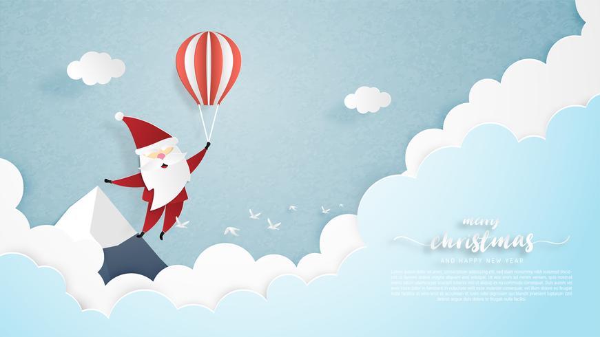 Santa vliegen in de lucht vector