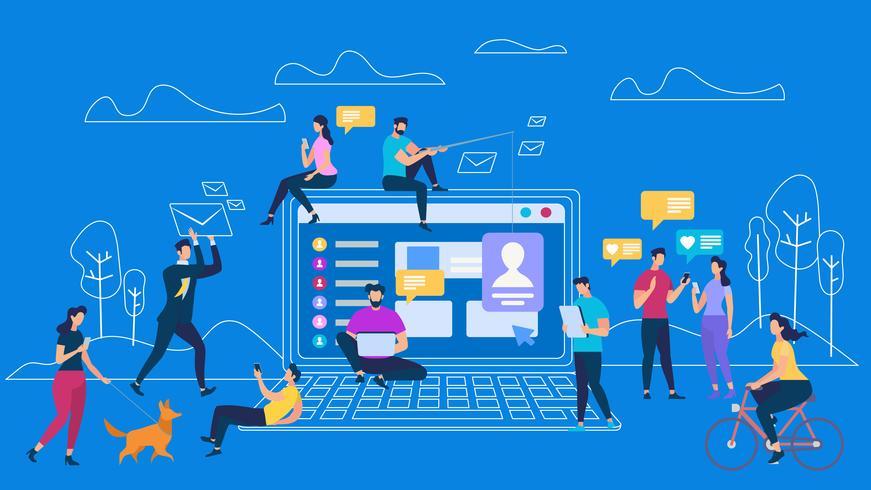 Mensen Digitale Apparaten Communicatie vector