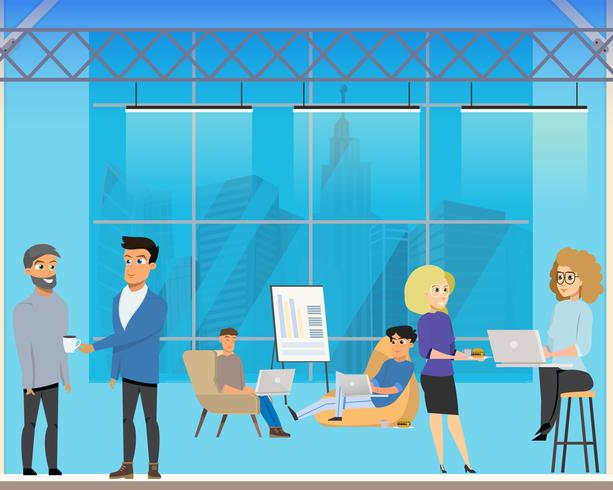 Zakelijke bijeenkomst in creatief gedeeld gebied vector