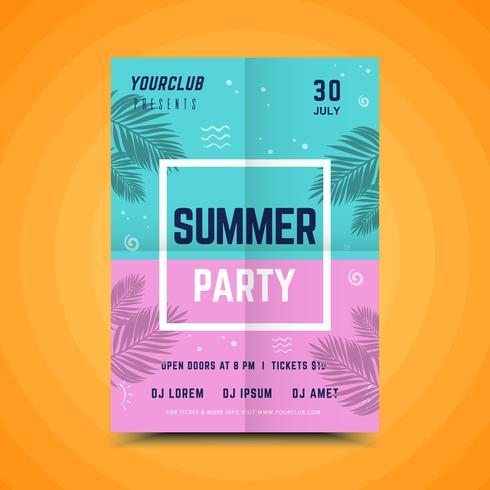Kleurrijke zomer partij poster vector