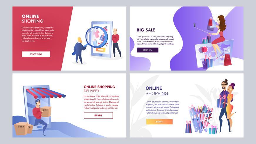 Online marketingset vector