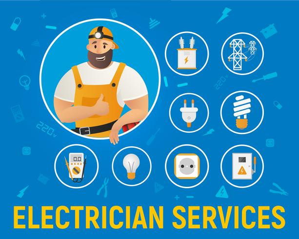 Elektricien Service pictogrammen vector