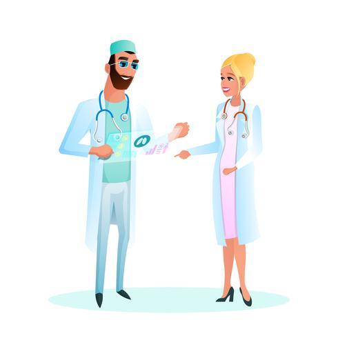 Verpleegster en arts praten vector