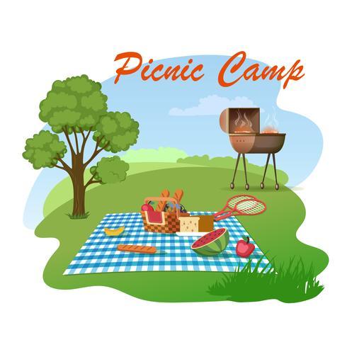 Familie picknick op weide vector