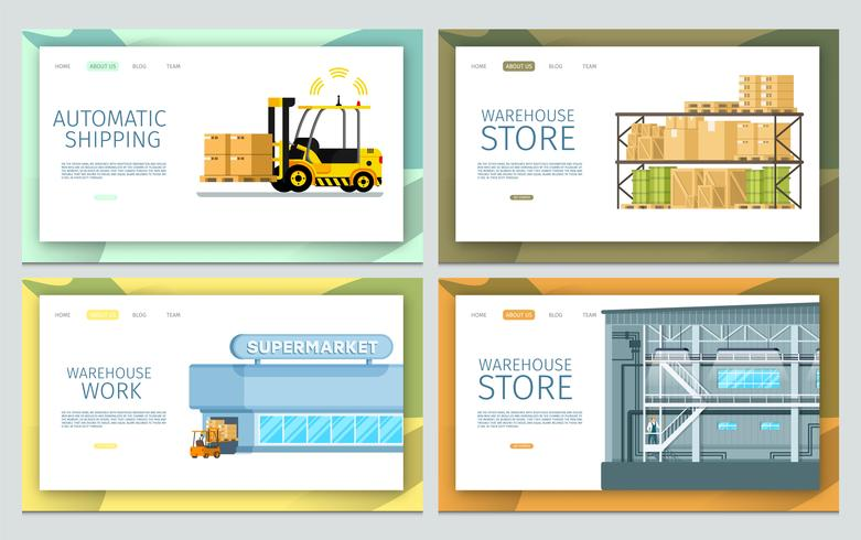 Werkende Warehouse Set vector